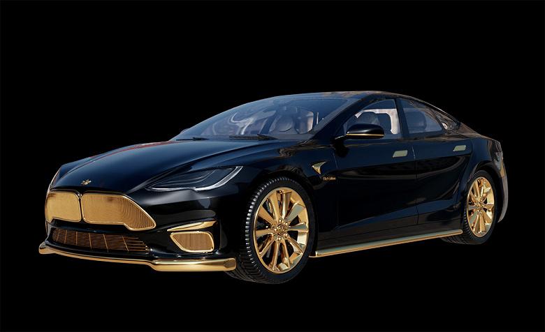 В России представили золотой электромобиль Tesla Model S за 299 тысяч долларов