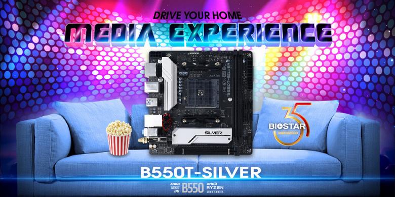 Системная плата Biostar B550T-Silver выполнена в типоразмере mini-ITX