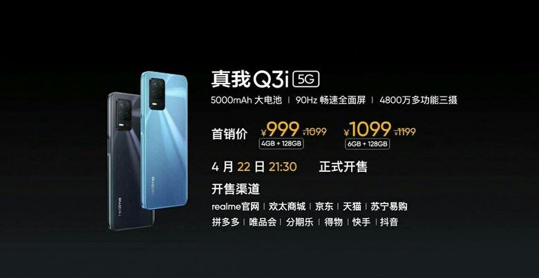 Android 11, 5000 мА·ч, 90 Гц, 48 Мп, 128 ГБ памяти и 5G за 155 долларов. Представлен Realme Q3i
