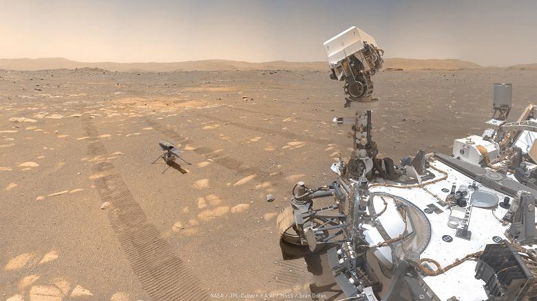 С Марса доставлено отличное селфи с ровером Perseverance и вертолётом Ingenuity