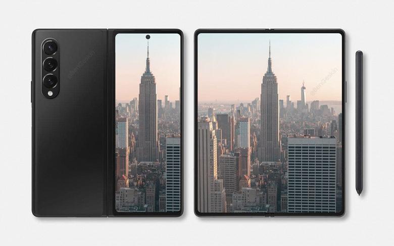 Так выглядит первый в мире смартфон гибким дисплеем и подэкранной камерой. Samsung Galaxy Z Fold 3 показали на рендере
