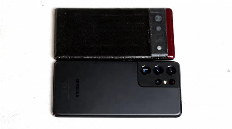Распечатанный на 3D-принтере макет Google Pixel 6 сравнили с Samsung Galaxy S21 Ultra и Xiaomi Mi 11 Ultra