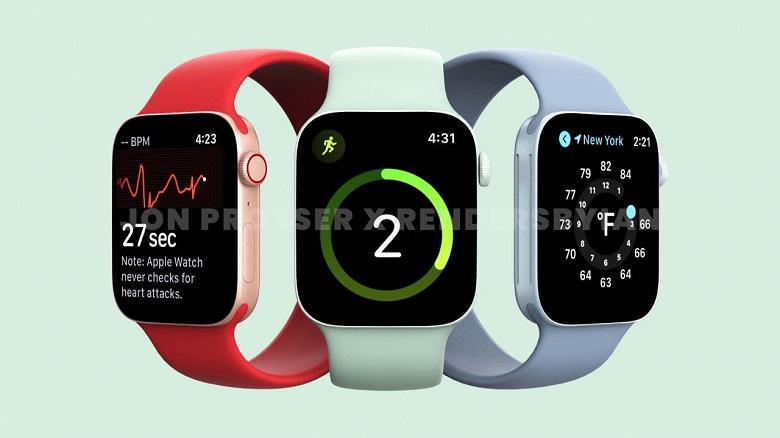 Так выглядят новые умные часы Apple. Опубликованы качественные рендеры Apple Watch Series 7 в разных цветах