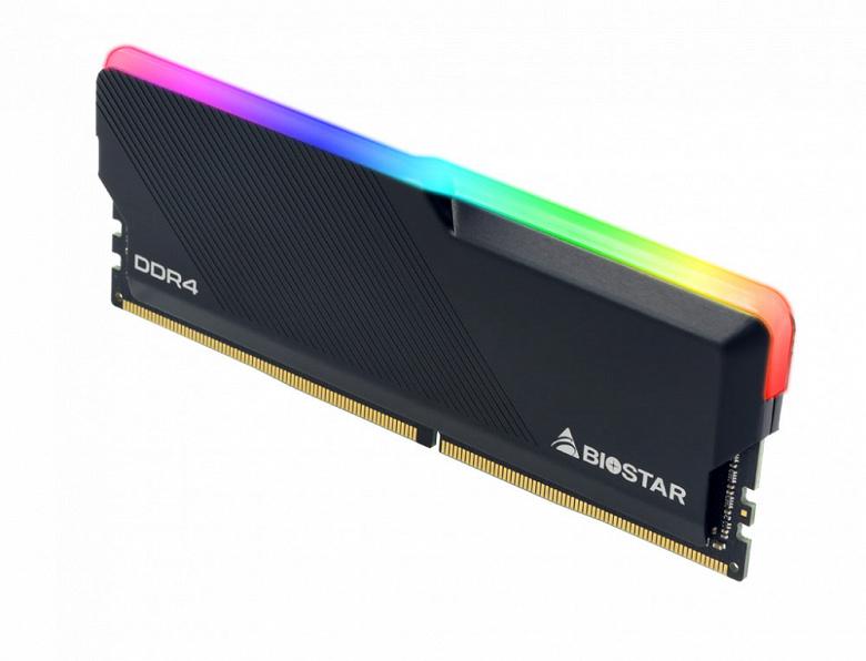 Модули памяти Biostar DDR4 RGB Gaming X работают на эффективной частоте 3200 МГц с задержками CL18-22-22-42