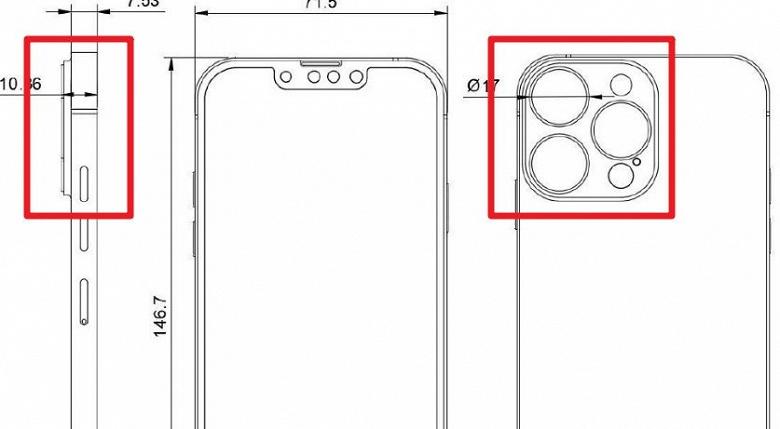 Точные размеры и уменьшенную чёлку iPhone 13 Pro показали на чертеже
