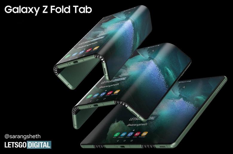 Так выглядит потенциальный Galaxy Z Fold Tab. Планшет Samsung с гибким экраном, складываемым вдвое, показали на качественных рендерах