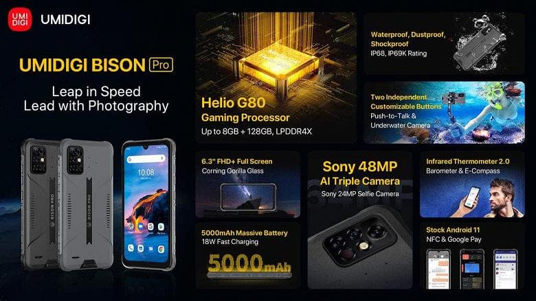 Неубиваемый смартфон с IP69K и инфракрасным термометром Umidigi Bison Pro для первых покупателей обойдётся вдвое дешевле