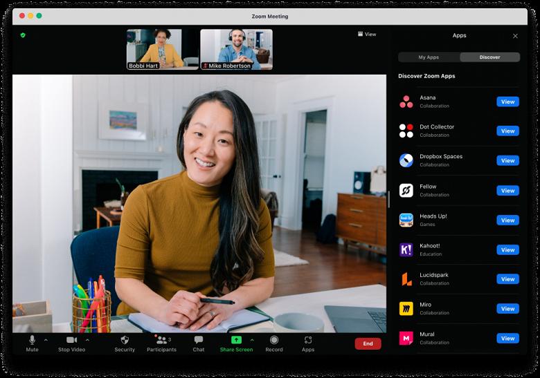 В видеоконференциях Zoom теперь можно использовать сторонние приложения — Slack, Dropbox, и многие другие, включая игры