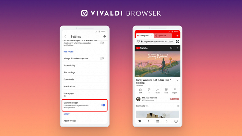 """Vivaldi's alternative browser for Android allows you to """"Stay in Browser"""" and disable tab grouping"""