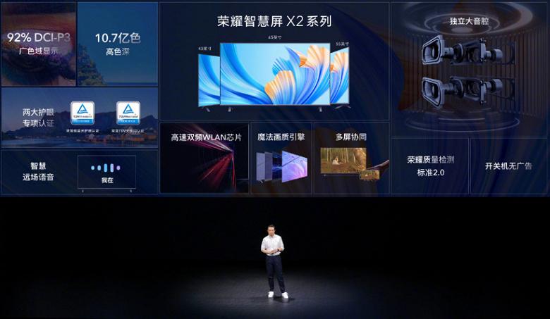 43 дюйма за 280 долларов и 65 дюймов за 540 долларов. Представлены недорогие 4К-телевизоры Honor Smart Screen X2