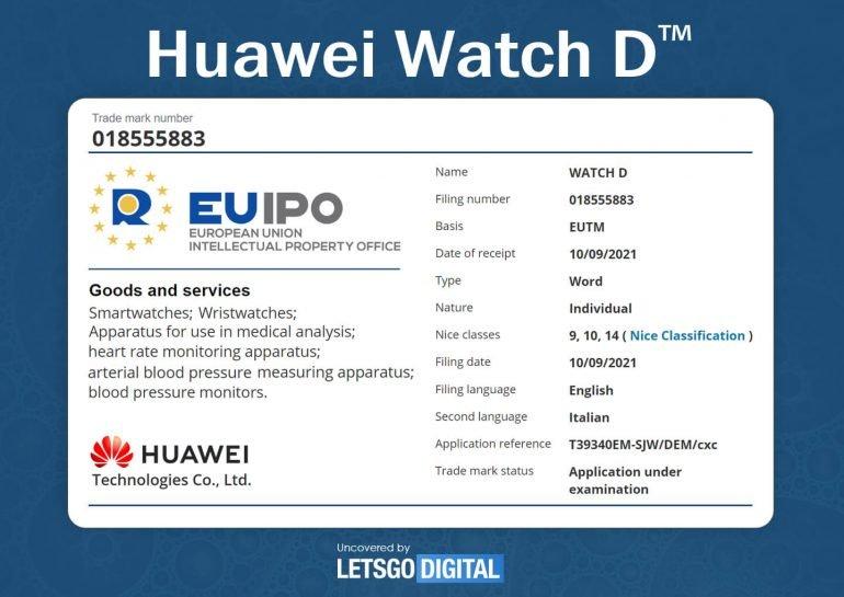 Умные часы Huawei Watch D смогут измерять артериальное давление и уровень жира