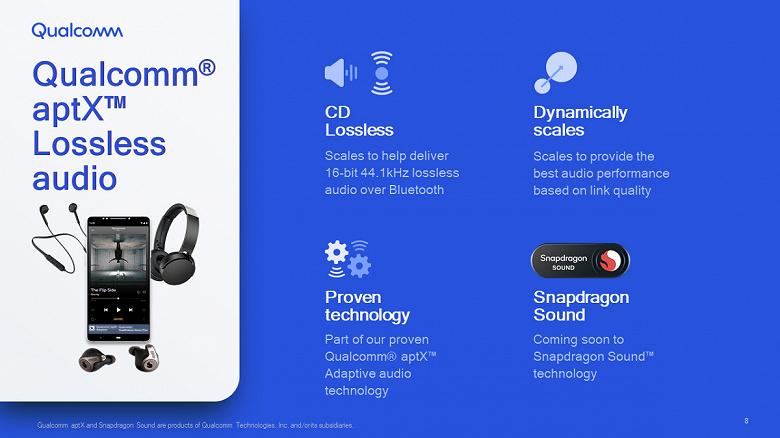 Представлен кодек Qualcomm aptX Lossless, обеспечивающий передачу по Bluetooth звука с качеством CD (16 бит, 44,1 кГц)