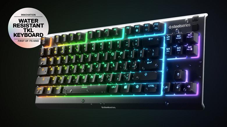Игровая клавиатура SteelSeries Apex 3 TKL не пострадает, если на нее прольётся жидкость