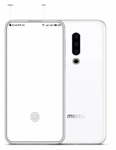Опубликован рендер флагманского смартфона Meizu 16S: тройная основная камера и, возможно, «дырявый» экран