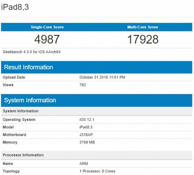 Однокристальная система Apple A12X, на которой построены новые iPad Pro, установила рекорд в бенчмарке Geekbench