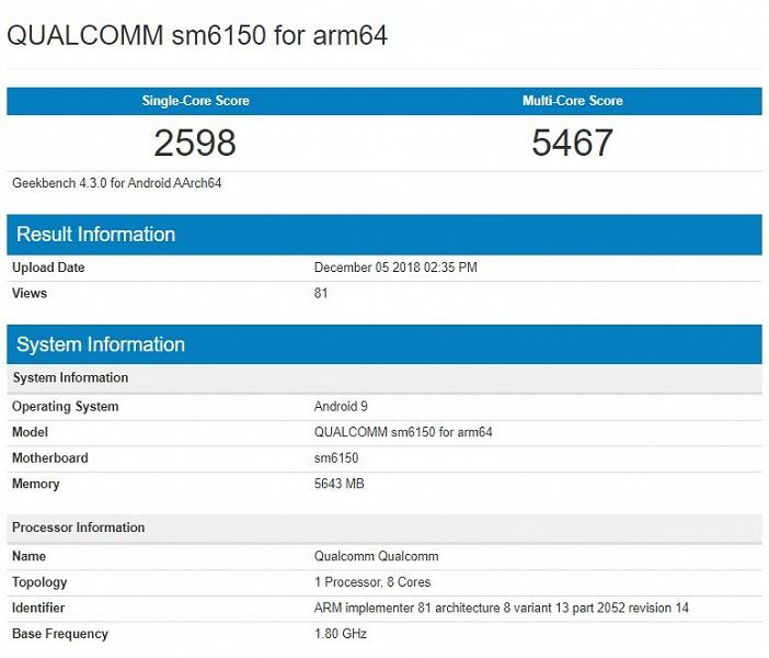 Среднебюджетная SoC Snapdragon 6150 впечатляет производительностью