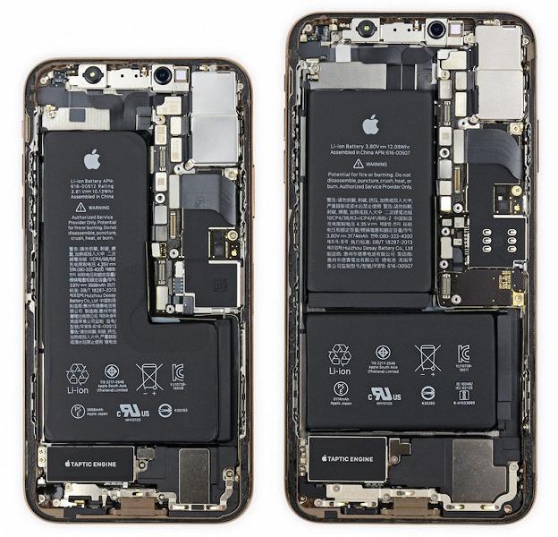 Внутри iPhone XS и XS Max специалисты iFixit обнаружили L-образный и двойной аккумуляторы