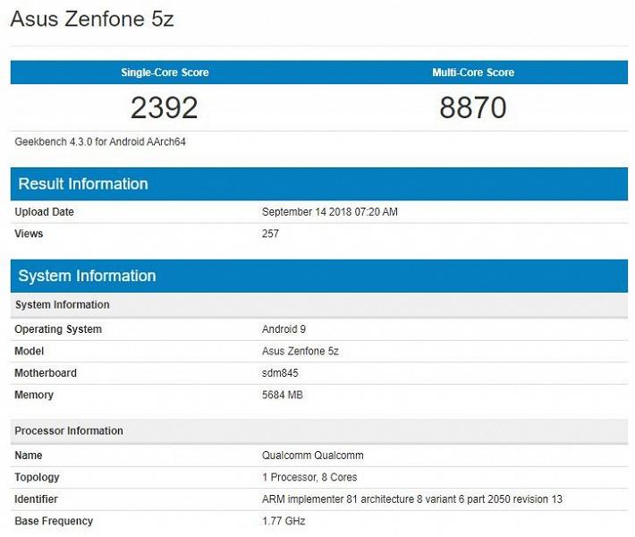 Asus Zenfone 5z протестирован в Geekbench c Android 9