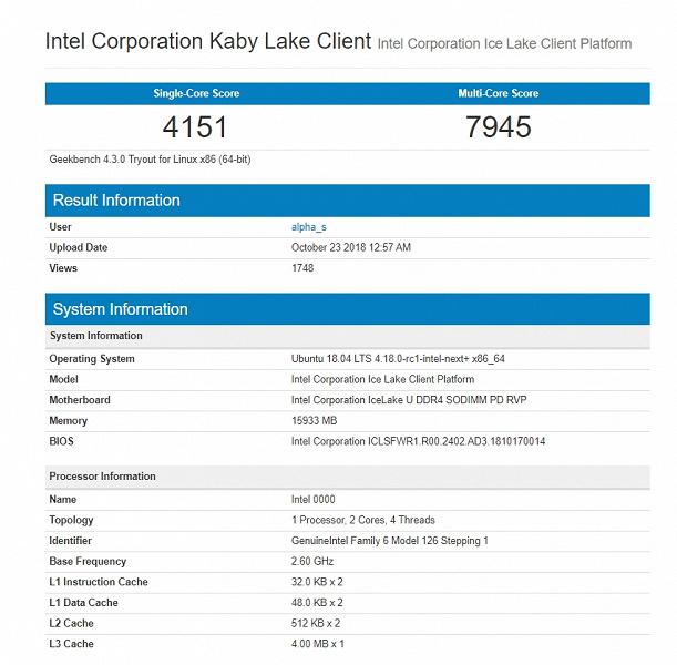В Сети появился первый результат тестирования процессора Intel Ice Lake