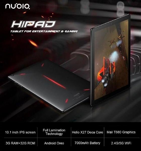 Nubia Hipad — грядущий геймерский планшет, основанный на... старой 10-ядерной платформе MediaTek