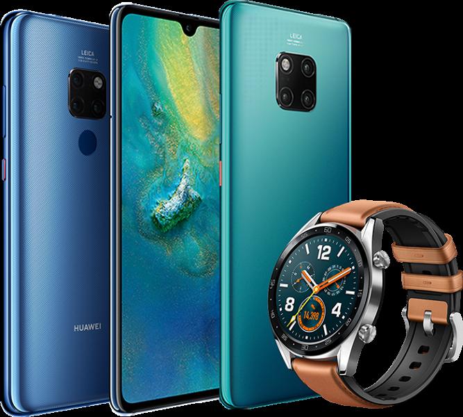 Флагманы Huawei Mate 20 и Mate 20 Pro красуются на новом изображении вместе с часами Huawei Watch GT. Новые детали