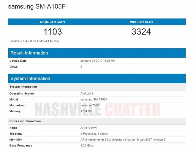 Samsung Galaxy A10 получит Android 9.0 Pie и всего 2 ГБ оперативной памяти