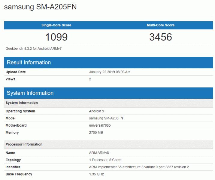 Samsung Galaxy A20 получил восьмиядерную платформу Exynos 7885 и 3 ГБ оперативной памяти