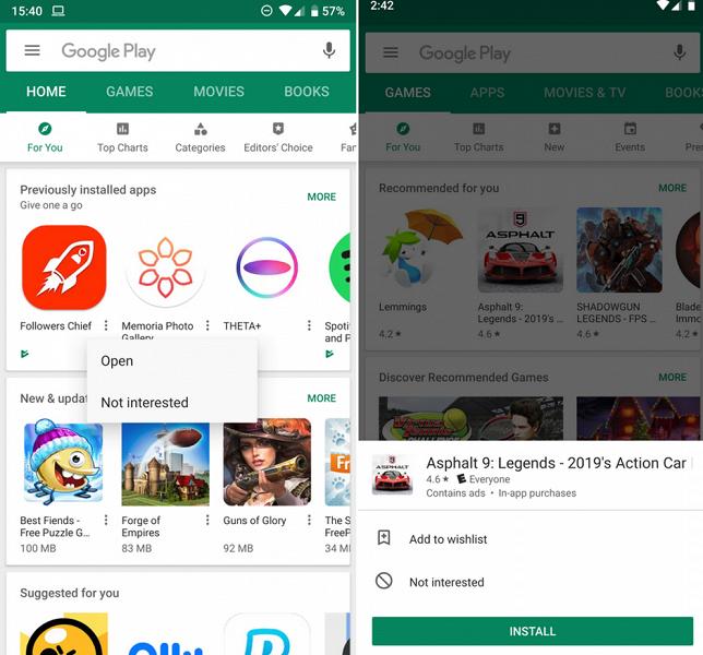 Google тестирует обновленный интерфейс Google Play