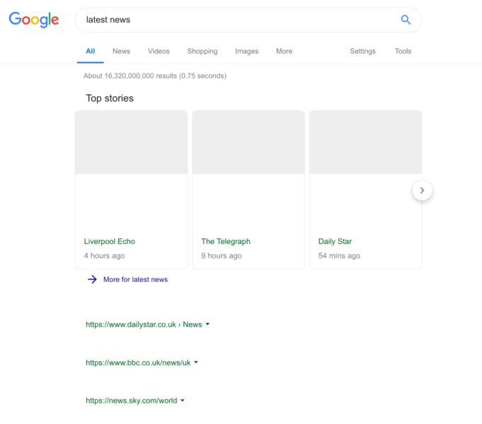Пустота: Google показала, как будет выглядеть страница поисковой выдачи в случае принятия «Директивы о копирайте»