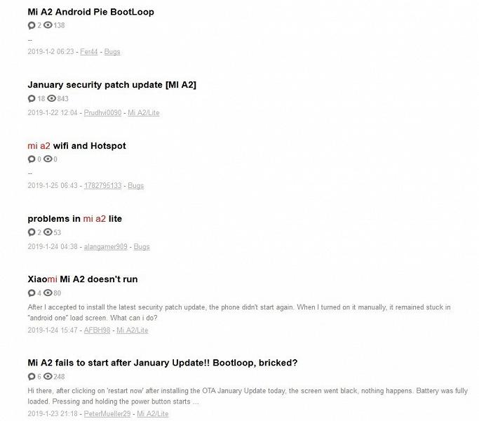 Проблема с Xiaomi Mi A2: смартфон уходит в циклическую перезагрузку после установки январского обновления безопасности