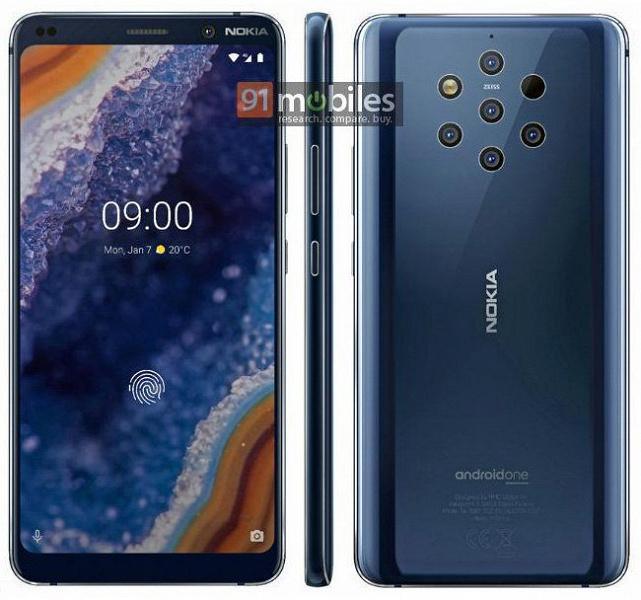 Официальный рендер позволяет рассмотреть все особенности флагманского смартфона Nokia 9 PureView