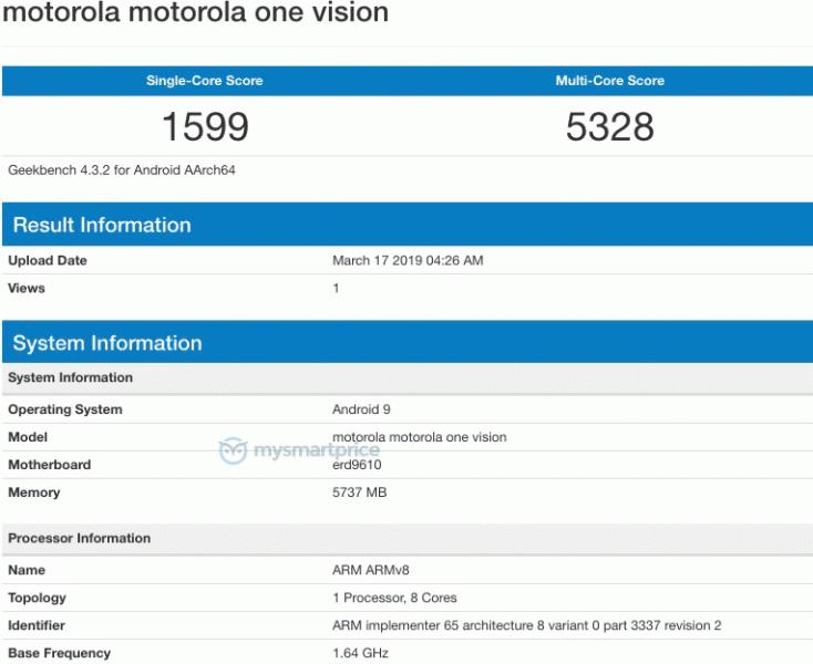 Смартфон Motorola One Vision на платформе Exynos 9610 засветился в Geekbench