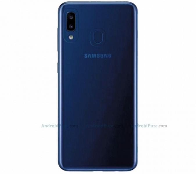 Бюджетный смартфон Samsung Galaxy A20e позирует на рендерах: экран Infinity-U и сдвоенная камера на месте