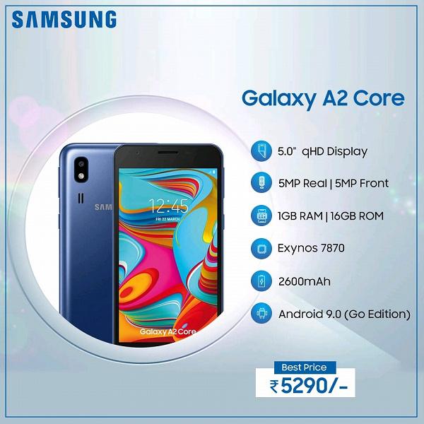 Прямой конкурент Redmi Go: представлен смартфон Samsung Galaxy A2 Core ценой $76