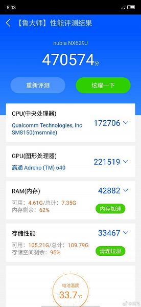 Новый топ? Игровой смартфон Nubia Red Magic 3 установил абсолютные рекорды сразу в двух бенчмарках