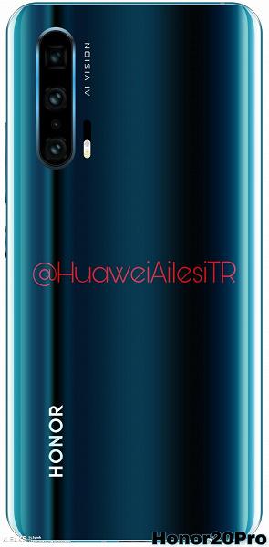 Качественное изображение тыльной панели подтверждает наличие четырех датчиков в основной камере Honor 20 Pro