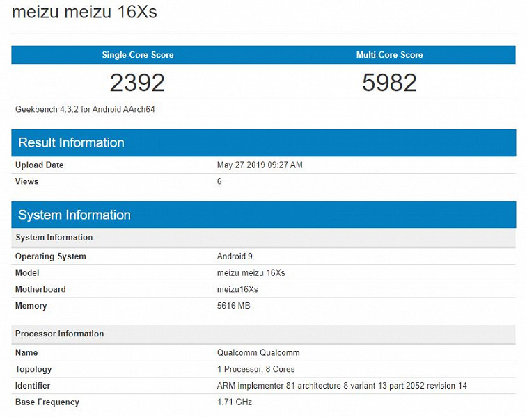 Meizu 16Xs не впечатляет свой производительностью в Geekbench