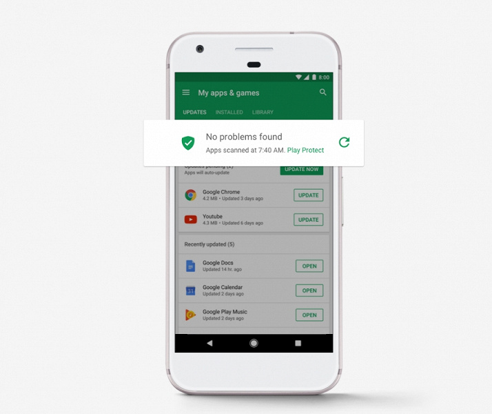 На страже безопасности. Система Google Play Protect ежедневно сканирует 50 млрд приложений