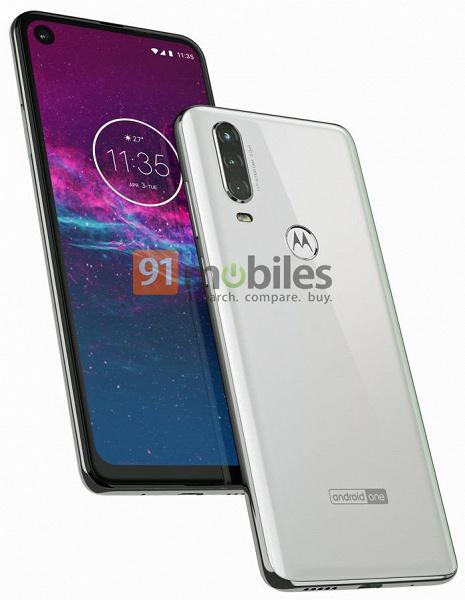 Смартфон Motorola One Action позирует на официальном рендере с врезанной фронтальной камерой и тройной основной