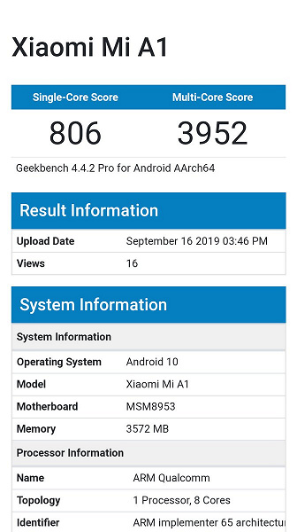Xiaomi Mi A1 тоже получит Android 10