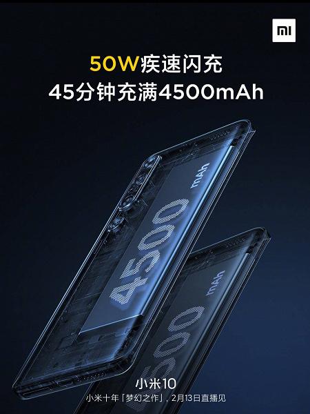 Емкость аккумулятора Xiaomi Mi 10 выросла за день