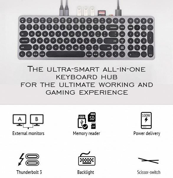 Клавиатура KD-K1 с несколькими портами USB, выходом HDMI и слотами для карт памяти может питать ноутбук