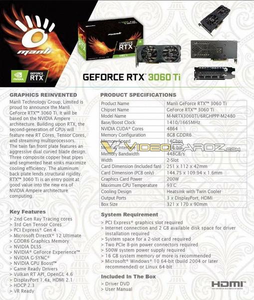 4864 ядра CUDA и частота 1,66 ГГц. Все характеристики GeForce RTX 3060 Ti за десять дней до анонса