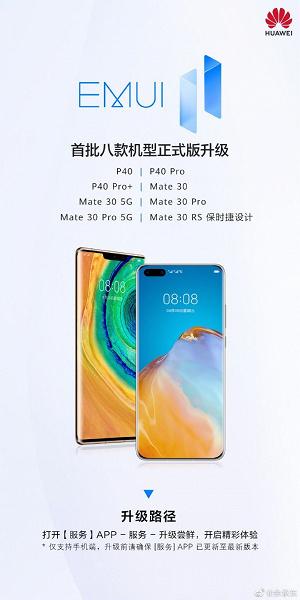 Восемь смартфонов Huawei получили финальную версию EMUI 11. Это модели линеек Mate 30 и P40
