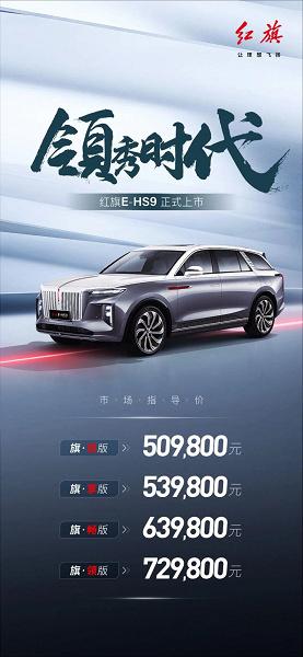 Разгон 4 с до 100 км/ч и запас хода 500 км. В Китае стартуют продажи убийцы Aurus Komendant - большого недорогого электрического кроссовера Hongqi E-HS9