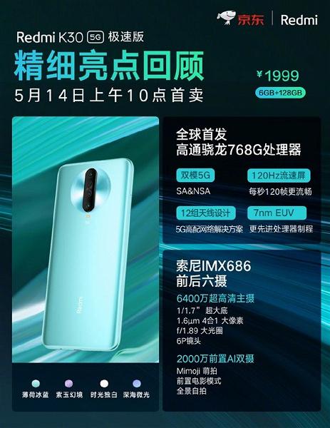 Доступные 120 Гц, 64 Мп и уникальная SoC. Потенциальный бестселлер Redmi K30 5G Extreme Edition поступил в продажу у себя на родине