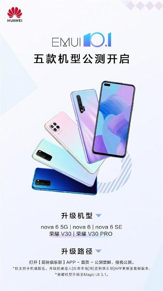EMUI 10.1 вышла для Huawei nova 6 и Honor V30