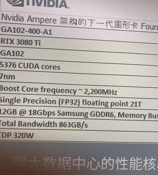 5376 ядер CUDA и частота 2,2 ГГц. Новые данные о характеристиках GeForce RTX 3080 Ti