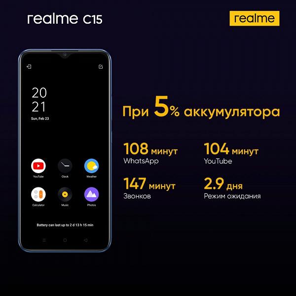 Новый монстр автономности прибыл. В Россию приехал Realme С15