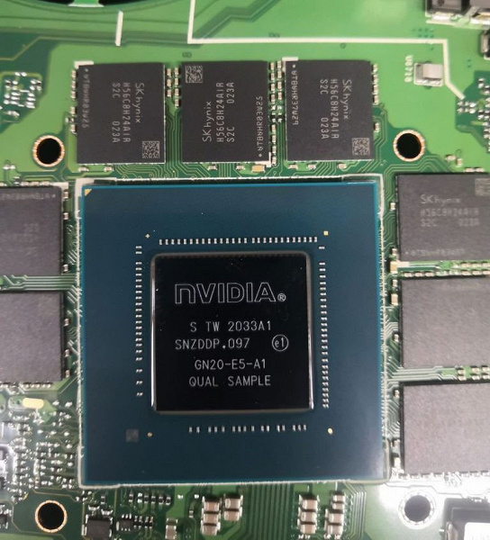 Это первое фото мобильной видеокарты Nvidia нового поколения. GeForce RTX 3070 для ноутбуков получит 8 ГБ памяти
